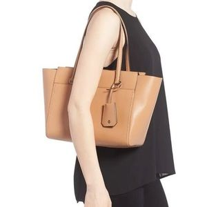 Tory Burch Parker tan leather tote with 11 pockets